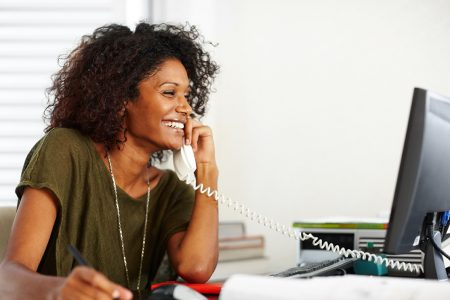 Woman enjoying a free conference call